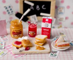 Miniature Peanut Butter and Jelly Set by CuteinMiniature on Etsy, $29.40