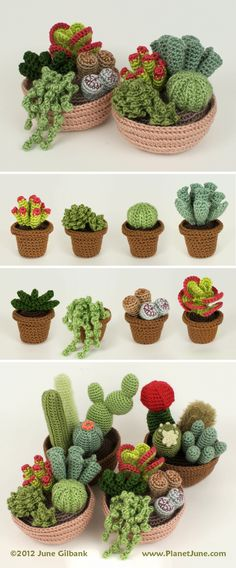 Crochet your own everlasting easy-care garden with mix-and-match cactus and succulent patterns: www.planetjune.com/cacti