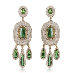 The extravagant chandelier earrings features over of green Tourmaline and of diamonds, while the by SUTRA Gems Jewelry, High Jewelry, Pearl Jewelry, Jewelry Box, Jewelery, Diamond Jewellery, Emerald Earrings, Women's Earrings, Gold Accessories
