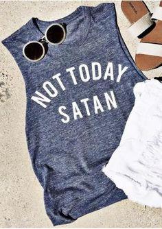 0b641e8b4c1fe8 Women Not Today Satan Letter Printed Tank Tops Sleeveless Soft Tee O-Neck  Summer 2017 tank Casual Beach tshirt Girls