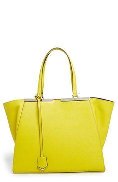 Fendi Tote, Fendi Bags, Shopper Tote, Satchel, Crossbody Bag, Fab Bag, Mellow Yellow, Neon Yellow, Leather Handbags