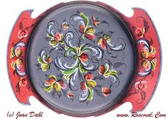 Platter Rosemaled, Large in Wood, Designed Handpainted & Signed By Artist, Dahl
