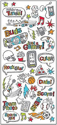 KID DOODLE BOY Stickers scrapbooking TEXTING GAMER SK8R 99 CENT SALE!