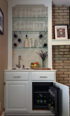 In Wet Bar I converted a mirror-backed shelf to a built-in bar. Built In Wet Bar I converted a mirror-backed shelf to a built-in bar.,Built In Wet Bar I converted a mirror-backed shelf to a built-in bar. Built In Bar, Built In Grill, Mini Bars, Wet Bar Sink, Built In Coffee Maker, Game Room Bar, Home Bar Designs, Kitchen Designs, Bar Cart Decor