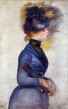 Young Woman in Bright Blue at the Conservatory by Pierre Auguste Renoir - Hand Painted Oil Painting