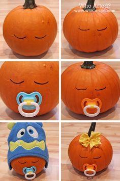 DIY Sleeping Baby Pumpkin halloween halloween decorations halloween ideas halloween pumpkins halloween crafts for kids