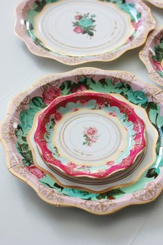 Set of 12 floral tea cup party theme paper plates 8 Gorgeous shades of mint green, gold and pink with floral rose print Perfect for your