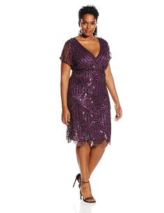 Marina Women's Plus-Size Allover-Sequin Scalloped-Hem Dress *** Discover this special product, click the image : Plus size dresses