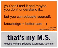 multiple sclerosis.  If you love someone with Multiple Sclerosis, then surely you will educate yourself about the disease.  It will benefit both of you! ~ Libby