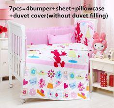 Promotion! 6/7PCS Baby Bedding Set Crib Bedding Set for Girls Detachable Cot Quilt PillowCase Bumpers, 120*60/120*70cm