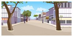 Town street with buildings, trees and empty pavement Free Vector Scenery Background, Background Design Vector, Landscape Background, Cartoon Background, Textured Background, Passage Piéton, Episode Backgrounds, Clipart Black And White, Anime Scenery Wallpaper