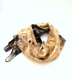Felted scarf Chocolate and Cacao  brown beige  cobweb by AgnesFelt,
