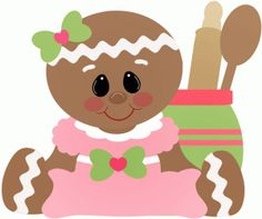gingerbread girl sitting with cooking tools------------------------------I think I'm in love with this shape from the Silhouette Online Store!