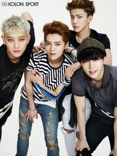 Members of EXO model casual looks. Colorful and modern, they look great!  - Lily #asianfashion #EXO
