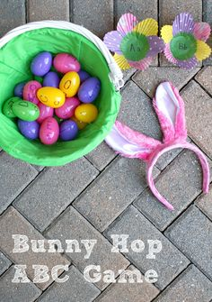 Looking for fun Easter activities for kids that are also great for learning? Practice letter recognition and sounds with this Bunny Hop ABC game. Easter Activities For Kids, Easter Games, Spring Activities, Toddler Activities, Holiday Activities, Kids Fun, Holiday Crafts, Preschool At Home, Preschool Learning