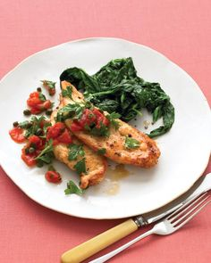 Sauteed Chicken with Tomato Relish and Spinach | When tomatoes and spinach aren't in season, canned and frozen varieties are sound choices -- they're packed fresh, are less expensive, and can be kept on hand.
