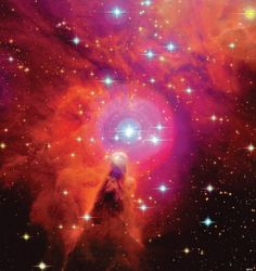 he Cone Nebula (NGC 2264) consists of a glowing cloud of ionized gas excited by the surrounding hot, massive young blue stars. Strong winds of particles blow from these stars, shaping the residual gas left from a spent star formation region, creating these structures with striking appearances.
