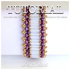 Tutorial/Pattern Casablanca bracelet: Purple and lavender superduo, opaque white TOHO and golden czech seed beads. Golden findings.