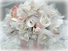 Seashell and Roses Bridal Bouquet - Beach Bride  https://www.etsy.com/transaction/87571869