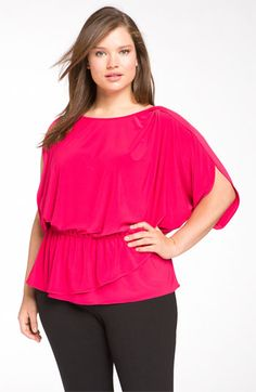 The color on this Tahari Tiani blouse is stunning.  Love the sleeves.