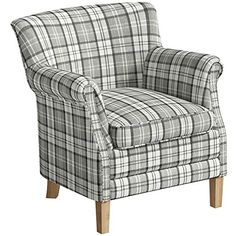 Come home to comfort with the tasteful and traditional County Armchair. This welcoming piece of furniture features shades of grey and white, stitched together i