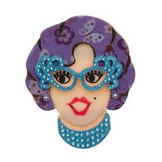 Now you can have Dame Edna on your lapel. Barry Humphries, Dame Edna, Rockabilly Hair, Quirky Gifts, Resin Jewelry, Jewellery, Halloween Cat, Whimsical, Jewelry Design
