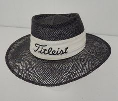 aa0eba941c6 Titleist Vintage Straw Hat Panama Style Wide Brim Black White Golf  Embroidered Yupoong Made in Korea