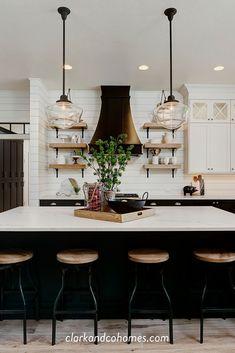 Modern Kitchen Island, Modern Farmhouse Kitchens, Home Kitchens, Custom Kitchens, Kitchen Islands, Kitchen Cabinet Design, Kitchen Interior, Kitchen Decor, Kitchen Ideas