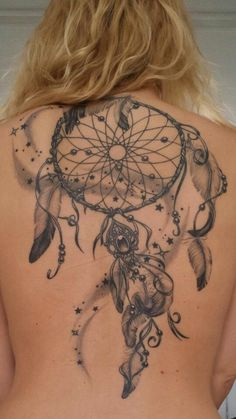 dreamcatcher back tattoo