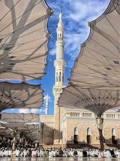 Rows of Men Praying Under Umbrellas at the Prophet's Mosque in Madinah Originally found on: hijabimuslimah Mecca Wallpaper, Quran Wallpaper, Islamic Wallpaper, Islamic Images, Islamic Pictures, Islamic Art, Islamic Quotes, Mecca Madinah, Mecca Masjid