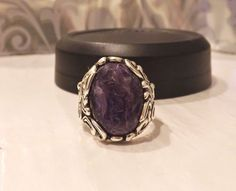 Carolyn Pollack CP Relios Sterling Silver 925 Charoite Designer Size 8 Ring #CarolynPollack #Cocktail
