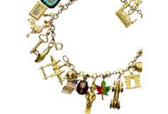 14K 1930's Charm Bracelet w/ 28 Charms