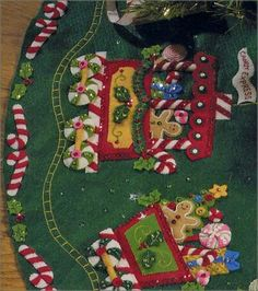 Bucilla Candy Express Train Felt Christmas Tree Skirt Kit-working on this right now Felt Christmas Decorations, Felt Christmas Ornaments, Christmas Diy, Vintage Christmas Stockings, Christmas Stocking Kits, Xmas Tree Skirts, Felt Tree, Ideias Diy, Christmas Crafts