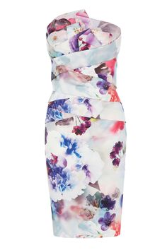 With the striking structured bodice and statement floral print, this bandeau dress is an utterly sensational occasion piece. The Breita Dress is tailored to hug your curves and cinch you in at the waist for a subtly sexy appeal. Perfectly placed seam detail gives a contoured look. This fully lined dress is closed with a concealed back zip.