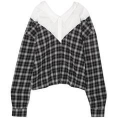 Unravel Project Paneled checked cotton and silk-blend and poplin shirt ($795) ❤ liked on Polyvore featuring tops, collared shirt, button up collared shirts, stretch button down shirt, off the shoulder tops and checkered shirt