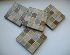 Cream, Sage Green, Brown, and Gray Coasters (Set of 4)