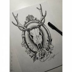 #skull #skulls #skulldraw #skulldrawing #skulltattoodesign #skulltattoo #deerskull #deer #deerskulldrawing #deerskulltattoo #frametattoo #frame #oldschoolframe #ornamentalframe #ivy #poisonivy #ivydraws #rose #rosedrawing #dotworkrose #dotworkers #blacktattoo #blackworksubmission #blackworker #btattooing #equilattera #taot #blxckink Deer Skull Drawing, Deer Skull Tattoos, Skull Tattoo Design, Deer Skulls, Cow Skull, Animal Skulls, Tattoo Designs, Tattoo Ideas, Dark Art