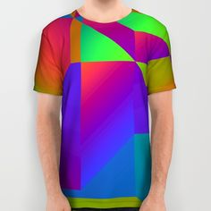 Colorful gradient shapes All Over Print Shirt by Laly_sb #T-shirt #tee #fashion #clothing #clothes #abstract #all over print #unisex #gradient #colorful #shapes
