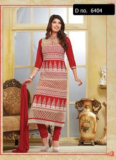Beautifully designed cotton Straight cut Salwar Suit Red and White with beautiful embroidery work done. Comes along with Matching Cotton Bottom and Chiffon Duppatta.