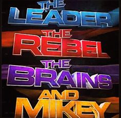 LOL! and Mikey.  Leonardo the leader, Raphael the Rebel, Donatello the Brains.