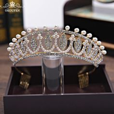 2018 Baroque Tiaras Women Hair Jewelry Rhinestone Pearls Crowns For Pageant Quinceanera Gold Bride Wedding Crowns Headbands
