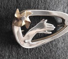 Sterling silver ''hand'' brooch