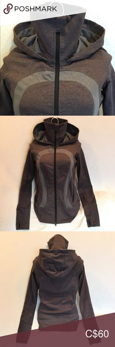Lululemon 🍋 In Stride jacket with hood Lululemon In Stride jacket with hood. Heathered brown and grey in colour. Unsure of exact size as tags have been removed, but fits like a 4. In EUC. Only sign of wear is on the zipper pull which is covered when zipped up. Has thumb holes 👍🏼 lululemon athletica Tops Sweatshirts & Hoodies