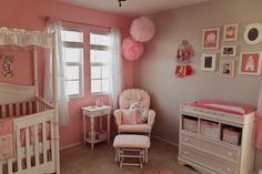Pink and gray shabby chic nursery - love the pink accent wall!