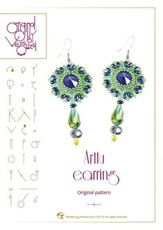 Beading tutorial / pattern Arttu earring. Beading instruction in PDF – for personal use only by beadsbyvezsuzsi on Etsy