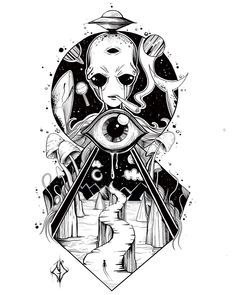 Find the tattoo artist and the perfect inspiration for your tattoo. - diy tattoo images - Find the tattoo artist and the perfect inspiration for your tattoo. Trippy Drawings, Space Drawings, Art Drawings Sketches, Tattoo Sketches, Tattoo Drawings, Weird Drawings, Alien Tattoo, Emoji Tattoo, Tatoo Art
