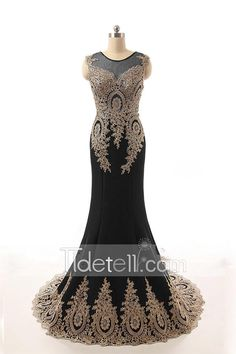 Exotic Mermaid Jewel Neck Chiffon Long Evening Dress With Lace Embroidery