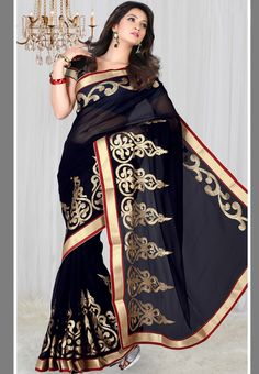 Sattika Black Embroidered #Cotton Blend #Saree - Buy Sattika Women Sarees Online | SA039WA16XMHINDFAS