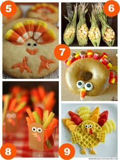 Turkey Sugar Cookies, Candy Corn Favors, Turkey Donut, Turkey Veggie Cups, and Turkey Waffle from Kitchen Fun plus 31 Days of Thanksgiving Kids Food Craft Ideas on Frugal Coupon Living.