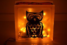 Hey, I found this really awesome Etsy listing at https://www.etsy.com/listing/208124627/owl-glass-block-light-decorated-glass